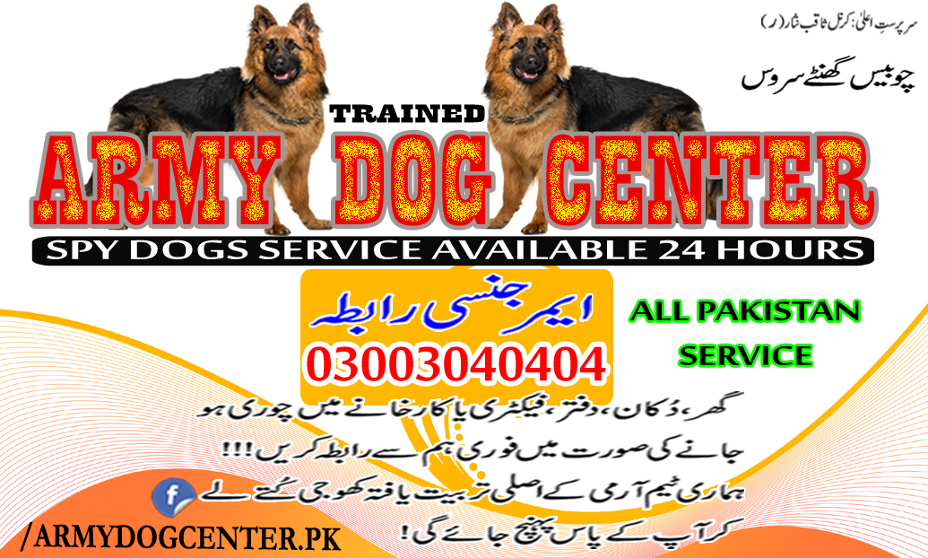 Army Dog Center Pakistan Emergency Call 03003040404 Trusted